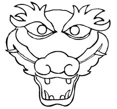 This Grinning Dragon Outline Mask features the outline of a grinning ...