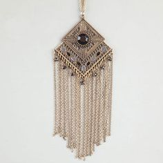 Full Tilt necklace with diamond pendant with facet stone & dangling chains