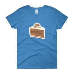 Chocolate Nut Cake Womens T-Shirt – Sweet Desserts Collection – Gildan 5000L  Product: Gildan 5000L Ladies Heavy Cotton Short Sleeve T-Shirt  A heavy cotton, classic fit ladies scoop neck t-shirt. • 100% cotton jersey • Pre-shrunk • Near-capped sleeves • Mid-scoop neck • ½ rib double needle collar • Missy contoured silhouette with side seam