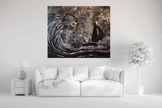 Buy Sailing Out Of The Storm And Heading Home - Black and White, Acrylic painting by Zena Cameron on Artfinder. Discover thousands of other original paintings, prints, sculptures and photography from independent artists. White Acrylic Paint, Acrylic Painting Canvas, How To Make Box, Sailing, Original Paintings, Sculptures, Waves, Artists, Black And White
