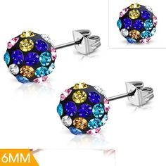 Stainless Steel Argil Ball Shamballa Stud Earrings With Colorful CZ Pair Steel Jewelry, Belly Button Rings, Mystic, Stud Earrings, Stainless Steel, Pairs, Colorful, Earrings, Country Belly Rings
