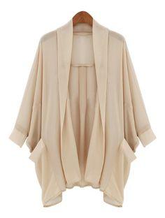 Apricot Batwing Long Sleeve Pockets Chiffon Coat