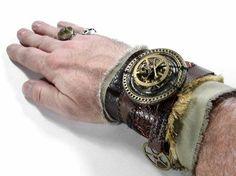 Steampunk Embellishments | Steampunk Cuff - BROWN LEATHER Textile Mixed Media Art Wrist Cuff
