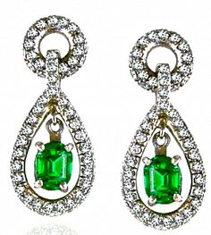 Pair of emerald and diamond ear-pendants