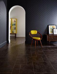 Dramatic bronze and deep petrol tones. Amtico Signature, Flagstone, Bronze, Chair, Furniture, Design, Home Decor, Decoration Home, Room Decor