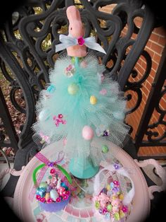 Aqua Easter Tree Topiary with Pink Bunny by MarshmallowCreations, $30.00