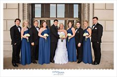 blue and silver wedding bridal party