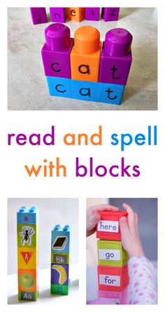 Spelling activities with blocks - how to bring literacy into block center - hands-on spelling activities - spelling centers using duplo and Lego