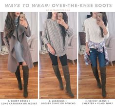 Fall Trends: 4 (Petite-Friendly) Ways to Style Over The Knee Boots (Extra Petite) Tall Boots Outfit, Winter Boots Outfits, Fall Outfits, Cute Outfits, Gray Boots, Stylish Outfits, Boot Outfits, Fashion Models, Over The Knee Boot Outfit