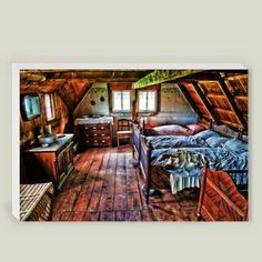 Altes Bauernschlafzimmer auf Canvas Leinwand