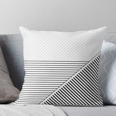 'Black and White Geometric Lines' Throw Pillow by UrbanEpiph.- 'Black and White Geometric Lines' Throw Pillow by UrbanEpiphany Black and White Geometric Lines Throw Pillow - Black Carpet Bedroom, Beige Carpet, Living Room Carpet, White Bedroom, Modern Carpet, Living Rooms, Black And White Pillows, Black Throw Pillows, Throw Cushions