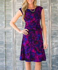 Another great find on #zulily! Purple & Blue Floral Cap-Sleeve Dress - Women by Sawyer Cove #zulilyfinds