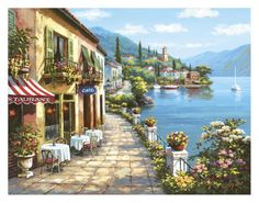 Buy inspirational Feng Shui horizontal wall art painting Overlook Cafe by Sung Kim from our seascape wall art paintings collection. This positive energy ready-to-hang stretched giclee is printed on hi Belle Image Nature, Art Paintings, Landscape Paintings, Impressionist Landscape, Post Impressionism, Seaside Cafe, Murals Your Way, Wall Murals, Wall Art