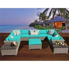 Miseno MONTEREY-12a-ARUBA Pacific West 12-Piece Outdoor Furniture Set w/Ottomans