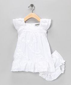 White Floral Dress & Bloomers - Infant & Toddler by Blow-Out on #zulily today!  Cute and girly, too bad they are sold out of the size i need :(
