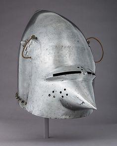 Visored Bascinet Date: ca. 1400 Culture: German Medium: Steel, brass, leather
