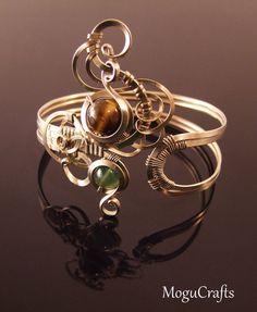 Beautiful half-round wire upper arm cuff adorned by MoguCrafts