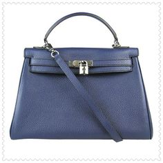 Series: Hermes Kelly 32cm Color: Blue/Silver(Hardware) Material: Premium leather(Sheepskin inside) Size: W32*H22*D14cm //12.6*8.7*5.5inch
