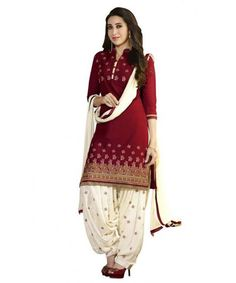 http://www.istyle99.com/Designer-Cotton-Collection/?cid=mj07 Lady Fashion Villa red designer salwar suit- Rs 858 Fancy Cotton Dress Materials with Embroidery work Top: 2.5 Meters Bottom: 2.5 Meter Patiala with Embroidery Dupatta: 2.25 Meter Fancy