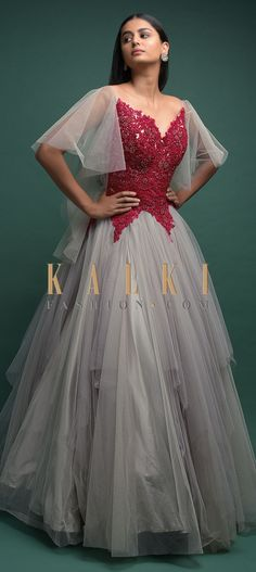 Buy Online from the link below. We ship worldwide (Free Shipping over US$100)  Click Anywhere to Tag Smoke-Grey-Ball-Gown-In-Net-With-Red-Bodice-And-Bell-Sleeves-Online-Kalki-Fashion Indowestern Gowns, Party Wear, Evening Gowns, Bodice, Ball Gowns, Bell Sleeves, Smoke, Free Shipping, Formal Dresses