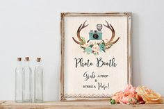 Boho Photo Booth Sign Printable Wedding Photobooth Sign Floral