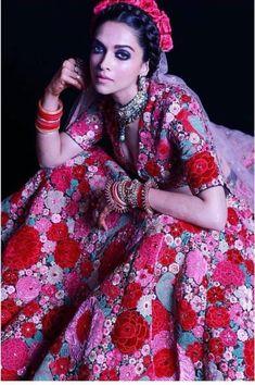Floral Lehenga, Bridal Lehenga Choli, Indian Lehenga, Pink Lehenga, Ethnic Outfits, Indian Outfits, Ethnic Clothes, Deepika Padukone Style, Ranveer Singh
