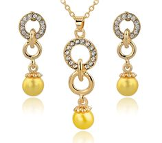 Wedding Jewelry Set Gold Plated Austrian Crystal Earring Necklace Set. ECA LISTING BY Shoppers Choice, Erode, India