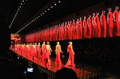 "Valentino Fashion show! This is sequence. The way the models are uniform creates a big moment of energy for the show. The runway is beautiful and the pitch black house lights are the perfect touch for this ""RED Rush""!"