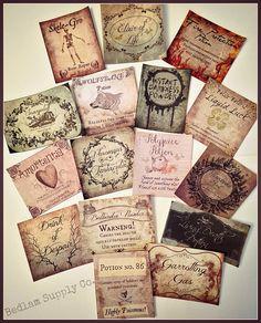 The Hugest Harry Potter Inspired Sticker Label by BedlamSupplyCo hogharts mandrake skelegro magic potion bottles