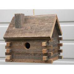 Log Cabin 10 in x 10 in x 8 in Birdhouse Cedarnest Log Cabin Hanging Birdhouse & Bewertungen Homemade Bird Houses, Bird Houses Diy, Wooden Bird Houses, Barn Houses, Bird House Feeder, Diy Bird Feeder, Bird Feeder Plans, Woodworking For Kids, Woodworking Projects