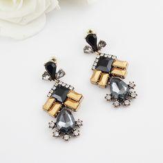 Black Yellow Gemstone Gold Diamond Earrings