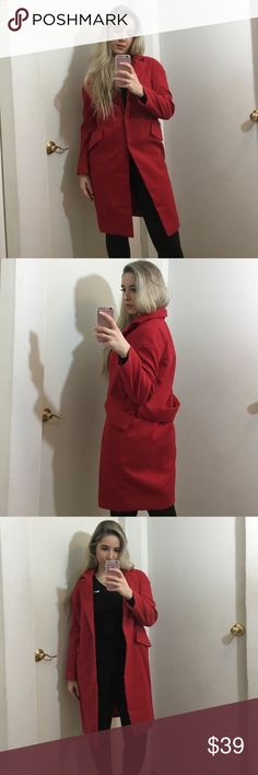 Two Button Slim Long Wool Coat🌹❤ Love this red wool coat 🌹❤ perfect outwear🌹 usually I wear small that's why it looks a little bigger on me. The size on the coat says Large,  but I think it's more Medium size. ♥️♥️ Clothes Type: Wool & Blends Material: Polyester Type: Slim Clothing: LengthLong Sleeve Length: Full Collar: Turn-down Collar Pattern Type: Solid Embellishment: Button Style:Fashion Season: winter, fall Jackets & Coats