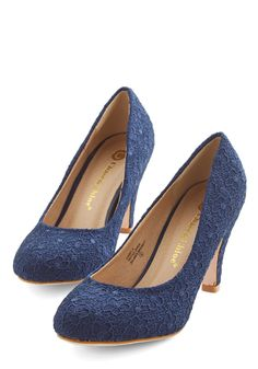I'm Sew Excited Heel in Navy. These darling navy heels have you dancing with delight! #blue #modcloth