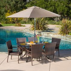 Littleton Rectangular Outdoor Cast and Wicker Set by Christopher Knight Home (Litleton Outdoor Cast and Wicker Set), Brown, Size Sets, Patio Furniture (Aluminum) Wicker Dining Set, Outdoor Dining Set, Patio Dining, Patio Table, Outdoor Decor, Wicker Chairs, Dining Sets, Outdoor Living, Outdoor Spaces