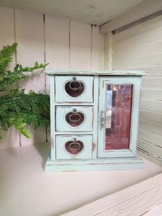 Shabby Chic Jewelry Box Turquoise, Aqua Beach Cottage Hand Painted