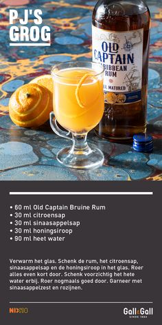 Old Captain Bruine Rum - kopen? Wine Cocktails, Non Alcoholic Drinks, Smoothie Drinks, Smoothies, Cocktail Mix, Gin And Tonic, Recipes From Heaven, Slushies, Milkshakes
