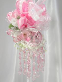 Just listed - Pink and White Victorian Beaded Christmas by OdysseyCreations