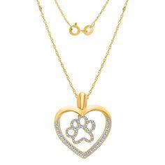 "0.23CT White Diamond 18K Yellow Gold Plated Heart Shape Paw Pendant W/18""Chain #DiamantJewels #paw"