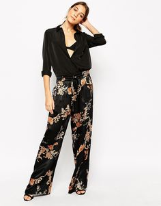 Image 1 ofGanni Wide Leg Trousers in Golden Leaves Print