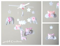 Baby Mobile - Elephant Mobile - Owl Mobile - Pink and Gray Mobile - Giraffe mobile - Pick your colors :)