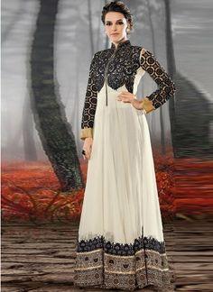 White With Black Resham Work Bollywood Salwar  http://www.angelnx.com/Salwar-Kameez