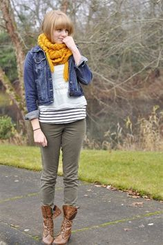 again. layering. stripes jean jacket scarf. (mustard + olive)