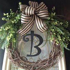 Spring Summer Fall Winter Grapevine Wreath with monougram Front Door Wreath Home Decor burlap ribbon