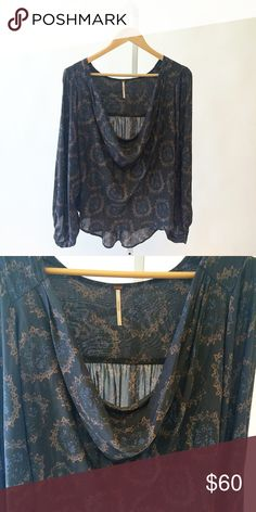 Free People Cowling around top Free People gray cowling around printed top. Light fabric. Great for the warm weather. Free People Tops
