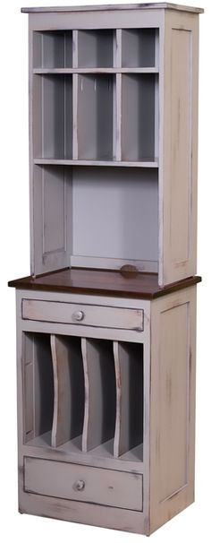 "#153H Organizer Base With Hutch  Organizer Base With Hutch is handmade by the Amish.  Your piece will be built with Premium Grade Eastern White Pine wood.  You will see some deformities and knots that come naturally with eastern pine. Measures: 22.50"" W x 72"" H x 16.75"" D"