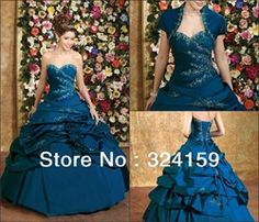 mobile site-Free shipping New Style Ball Gown Sweetheart Floor-length Taffeta Blue appliques with jackets Quinceanera Gown Dresses