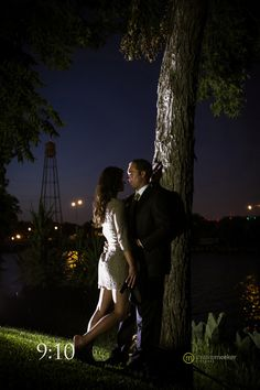 Night time engagement photo shoot.  Christine Meeker Pictures - in Houston