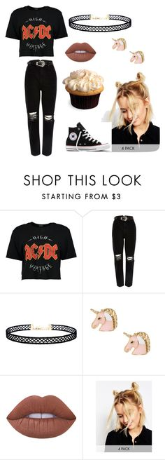 """lazy day"" by angela-grozdanov on Polyvore featuring Boohoo, River Island, LULUS, Lime Crime, ASOS and Converse"