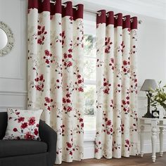 Paige Red Floral Ready Made Eyelet Curtains Harry Corry Limited Living Room Decor Curtains, Home Curtains, Farmhouse Curtains, Kitchen Curtains, Floral Curtains, Curtains With Blinds, Drapes Curtains, Draps Design, Ready Made Eyelet Curtains