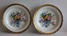 Antique KPM Berlin Hand Painted Floral Gold Trim Set of Two (2) Small Plates #KPM